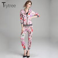 Trytree Весна женщины шелковистая печать из двух частей набор повседневная O-образным вырезом молния топы + брюки эластичный пояс женский костюм тонкий 2 шт.