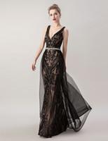 2019 sexy vestidos de noche de sirena de cristal con cuentas de lujo yousef aljasmi spaghetti Criss Cross overskirts 3D encaje árabe Prom vestidos formales