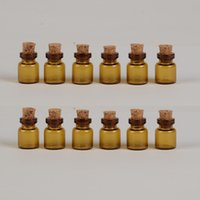 13*18*6mm 0. 6ml Mini Brown Glass Bottles With Cork Empty Tin...