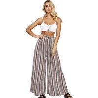 Cintura alta pantalones anchos de la pierna de las mujeres de la nueva moda pantalones de rayas largas mujeres sueltas pantalones casuales de vacaciones para mujer con cinturón