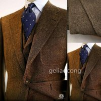 Masculino Fumar Brown Tweed Jacket Men Suit Negócios de Moda de Nova Terno Slim Fit weddign Tuxedo 3piece (jaqueta + calça + Vest)