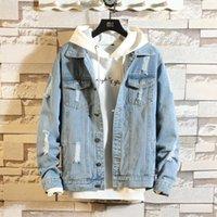 Homens \ 's Moda Denim Jacket Casual Bomber Hip Hop Retro Denim Streetwear 2019 LY191210