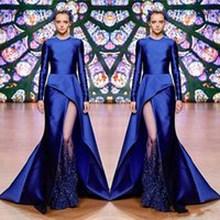 Royal Blue Mermaid Prom Dress Sexy Beaded Lace Applique Long Sleeves Party Gowns Stylish Elegant Evening Dress Formal Maxi Wear