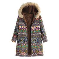Womens Winter Warm Outwear Estampado floral bolsillos con capucha Vintage abrigos de gran tamaño Winter Jacket Womens Outwear Parkas para mujeres