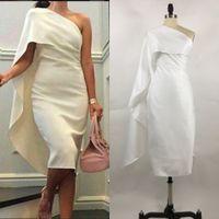 Werkelijke korte vrouwen cocktail jurken een schouderschede prom jurken met cape-thee lengte feestjurk plus size formele homecoming jassen