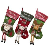 """Weihnachtsstrümpfe Weihnachtsmann Socke Big Weihnachtsstrümpfe Dekoration 18"""" Schneemann-Ren-Strumpf für Hauptdekor Geschenk Beuter JK1910"""