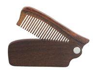 HOT Vente professionnelle Barbe peigne de bois de santal Barbe pliant Outils de toilettage peigne Hommes Femmes Brosses à cheveux en bois