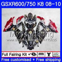 Corpo per SUZUKI GSX-R600 GSXR 750 600 600CC GSXR600 08 09 10 BACARDI pipistrelli 297HM.20 GSX R600 R750 GSX-R750 K8 GSXR750 2008 2009 Carenatura 2010