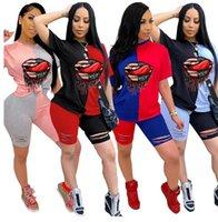 Frauen Lippen drucken Anzug Designer Zwei Stück Outfits Patchwork-Farben-Block-T-Shirt Ripple Loch Shorts Set Sommer-Sport-Klage S-3XL New D7101
