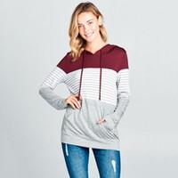 Moda Çizgili Kapşonlu Kadın sweatshirt Şık Bayanlar kawaii Kazak moletom feminino Tops truien dames Streetwear hoodies