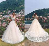 2019 Romantic Capped Sleeves A Line Wedding Dresses Lace App...
