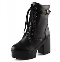 Moda Feminina Mulheres Martin Lace Up Ankle Boots Botas Brancas Pretas Ultra Muito Salto Alto Bloco Bootie Salto Robusto tamanho 34-40
