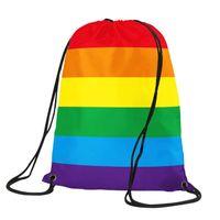 Homosexuell Pride-Rucksack 35x45cm Polyester-Schnur-Beutel zwei Schichten Regenbogen LGBTQ LGBT Rucksack Light Weight Taschen