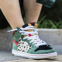 Running Shoes SB Dunk Hi Pro Bota Homens Mulheres High Top Sneakers Leopard Suede Skate Basketball Designer Shoe Trainers Chaussures 36-45