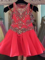 Kleines Fräulein Mädchen Festzug Kleid 2019 Strass Wassermelone Säugling Kleinkind Festzug Gonws Glitz Unique Fashion Jewel Schnürung von der Schulter
