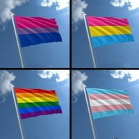 Rainbow Flag 3x5FT 90x150cm LGBT Flagge Banner Polyester-bunter Regenbogen-Flaggen-Außendekoration Bisexual Pansexual Garten Flags VT0721
