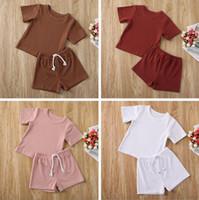 Baby Designer Kleidung Kinder Jungen Solid Artikel Grube Kleidung Sets Sommer Kurzarm Top Shorts Anzüge Infant T-Shirt Hosen Outfits CYP623