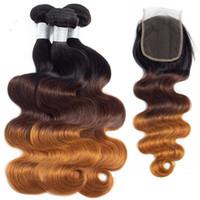 Haare Haare brasilianische jungfrau Haarbündel mit Verschlüssen ombre dreifarbige Körperwelle Malaysian unverarbeitete menschliche Haarfüke 10-28 Zoll