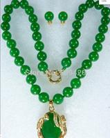 보석 Y ED6Y5 무료 배송 Wholesalej6539 귀족 10mm 녹색 옥 목걸이 18KGP 펜던트 귀걸이
