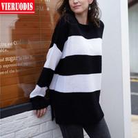 Sweaters pour femmes Sweters Femmes Automne et hiver 2021 Black Blanc Stripes ronds Pull à col rond Pull à manches longues Sweater surdimensionné Suter Feminino