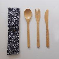 النمط الياباني الخيزران والسكاكين مجموعة صديقة للبيئة المحمولة أطباق سكين شوكة ملعقة طالب أواني الطعام مجموعة أدوات المائدة السفر مجموعة