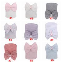 Детское вязание крючком Bowknot Шляпы Шапочки Cute Baby Girl Soft Вязание Хеджирование Колпачки с большой луки Теплый Tire Хлопок Cap Для новорожденный LJJA3340