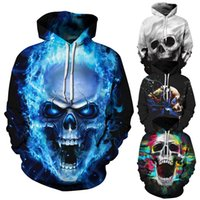 mens designer hoodies for teens Fashion skull 3d hoodies for...