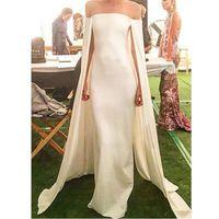 2020 새로운 우아한 아이보리 새틴 칼집 이브닝 드레스와 케이프 끈이 오프 숄더 바닥 길이 2074 공식 파티 드레스 Vestido 드 Noite