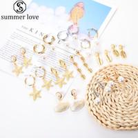 Moda Bohem Altın Kabuk Küpe Denizyıldızı İnci kolye Kulak Damla İçin Kadınlar Dangle Küpe Altın Gümüş Takı Hediye-Z