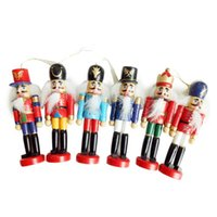 6PCS / 세트 크리스마스 홈 장식 호두 까기 인형 나무 군인 인형 12CM 주석 장난감 6 조각 장식 펜던트