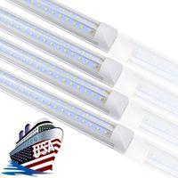 STOCK EN US + 8 pieds LED LED LED Lumières, lampes à tubes fluorescents à LED intégrées T8, Tubes de forme V 85-265V