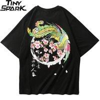 2020 Erkekler Hip Hop Tişörtlü Phoenix Çiçek Harajuku Streetwear Çinli Kanji Tişört Pamuk Yaz Siyah Tişört Kısa Kollu Tops