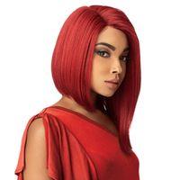 Merletto pieno corto sintetico rosso Bob Cosplay parte libera anteriore parrucca Bob diritta termoresistente dei capelli fibra parrucca del partito per le donne