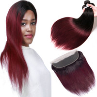 Ombre Bundles With Frontal Closure T1b 99j Straight Brazilia...