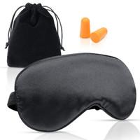 Bandoulière réglable en soie et coton Masque doux pour les yeux Sleeping Nap Travel est livré avec une oreille antibruit et un sac de rangement pour hommes et femmes.