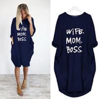 Yaz Kadın Mektup Baskılı Elbiseler Moda Ekip Boyun Panelli Bayanlar Elbiseler Rahat Gevşek Uzun Kollu Giyim Artı Boyutu S-5XL
