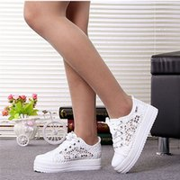 Summer Women Shoes Casual Cutouts Lace Canvas Shoes Hollow F...