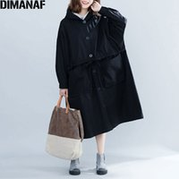 Женские куртки Dimanaf 2021 женские пальто, плюс размер Осенняя кнопка тонкий большой кардиган женская одежда свободно негабаритная черная верхняя одежда