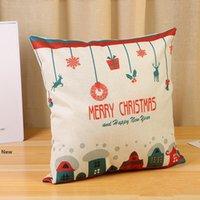 6styles Almohada de Navidad de Santa Claus Caso funda de almohada de algodón de lino almohada Inicio del coche del sofá navidad Decoración Almohada apoyos 45 * 45cm FFA3229