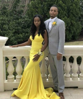 2020 African Yellow Mermaid Long Sexy Prom Dresses Black Gir...