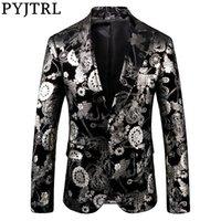 PYJTRL Quality Mens Retro Vintage Silver Floral Print Suit Jacket Slim Fit Party Prom Dress Tuxedo Blazers