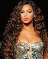 2021 Brasilianska Beyonces frisyr Lång stil framkantar Djupvåg i lager 100% Full Lace Fair Hair Made