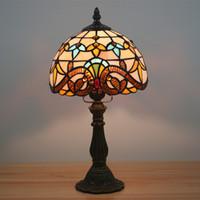 8 인치 작은 바로크 테이블 램프 유럽 침대 옆 라이트 스테인드 글라스 테이블 램프 장식 가정 장식 빈티지 데스크 전등