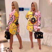 2019 HISIMPLE Lâche Femmes Africaines Vintage Imprimer Tournez Le Cou À Manches Longues Mini Robe Chemise Casual Robes Vestidos Casual Outfit S-3XL