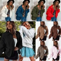 إمرأة الشتاء الصوف معاطف لامب لينة الدافئة قمم قمم بلون بلون مع جيب المرأة الأزياء عارضة معطف التلبيب الرقبة 9 ألوان