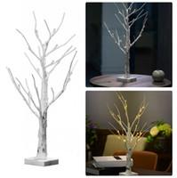 ICOCO 1 STÜCKE 60 cm Silber Birke LED Baum Lampe Landschaft Tisch Nachtlicht Festival Weihnachtsdekoration Geschenk Weiß / Warmweiß