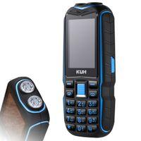 الأصلي رخيصة البسيطة قوة البنك الهاتف kuh t3 صوت كبير في صدمات الهاتف المحمول 2.4 بوصة المزدوج المصباح الطلب السريع وعرة الهاتف المحمول