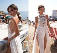 2019 Gali Karten Beach Robes De Mariée Côté Split Halter Illusion Sexy Boho Robes de mariée Balayer Pearls Backless Backless Bohemian Bride