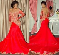 Off Shoulder Long Sleeves Dresses Evening Wear Plus Size Gold Lace Red Satin Arabic African Prom Formal Dress Long Party Cheap