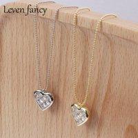 Ожерелье для Wife Girlfriend ювелирные изделия Обручальное Light 925 стерлингового серебра Любовь Циркон ключицы цепи вспышки сердца кулон